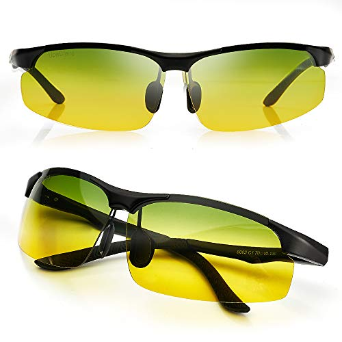 UpaClaire Night Vision Glasses Anti-glare High Definition Polarized Lens, Anti Glare from Headlights of Vehicles, Foggy Rainy Snowy Days for Driving Safety, Unisex