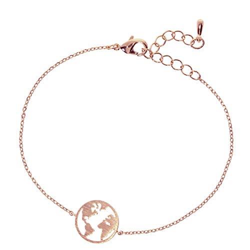 Zoeca - Armband 925 Silber - Nickelfrei - Damen Schmuck - Kette Weltkugel (Rosé)