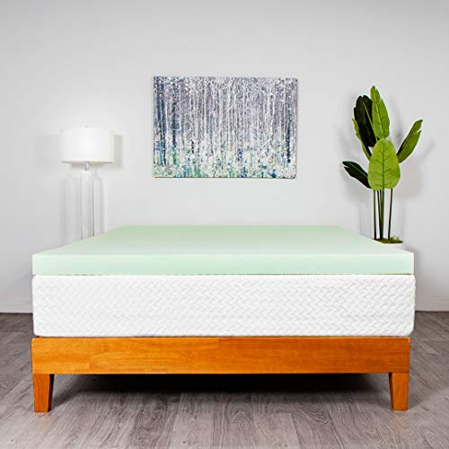 Milliard 3 Inch Memory Foam Mattress Topper – Infused with Green Tea Extract and Gel Cooling Beads (Twin)