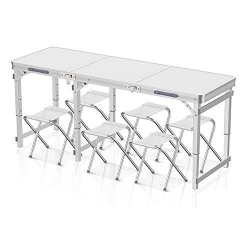 HLZY Klapptisch Tragbare Falten Camping Picknick-Tisch, Klappgartentisch Stuhl mit Sitzgelegenheiten for 6, for Grillparty Garden Camping Aluminium (Size : A 6 Chairs)