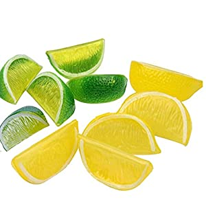 Artlink 10pcs Artificial Lemon Blocks Decor Plastic Fake Lemon Block Wedge Fruit Lemonade Decoration for Home (Yellow&Green)