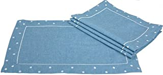 Xia Home Fashions Polka Dot Embroidered Easy Care Placemats, 13 by 19-Inch, Chambray, Set of 4