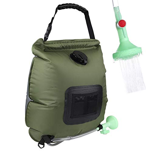 Camping Solar Shower Bag 5 gallons/20L Solar Heating Bag with On-Off Switchable Shower Head and Removable Hose for Outdoor Traveling Hiking (Army Green)