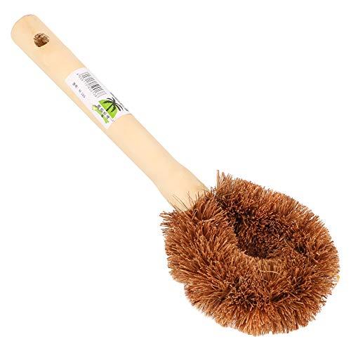 Runy Cepillo de limpieza antiadherente de aceite olla cepillo de lavado de platos herramienta de cocina suministros de cocina mango largo natural coco marrón