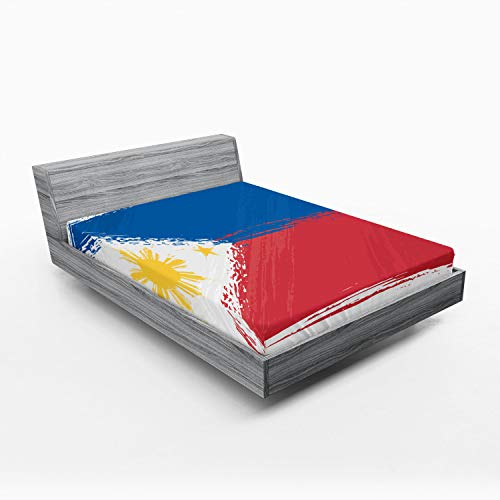 Ambesonne Filipino Fitted Sheet, Brush Stroke Style Grungy Philippines National Flag Print, Bed Cover with All-Round Elastic Pocket for Comfort, California King, Cobalt Blue Yellow