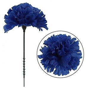 Larksilk Royal Blue Silk Carnation Picks, Artificial Flowers for Weddings, Decorations, DIY Decor, 50 Count Bulk, 3.5″ Carnation Heads with 5″ Stems