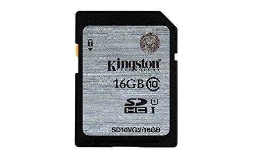 Kingston Technology SD10VG2/16GB 16 GB UHS Class 1/Class10 SDHC Flash Memory Card, Black, Grey