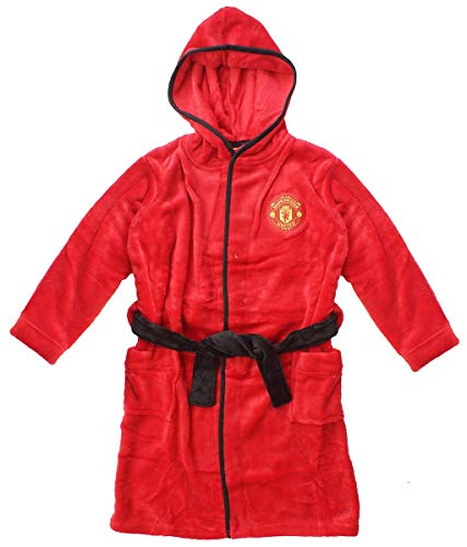 Jungen Offiziell Man United Manchester United MUFC Mit Kapuze Fleece Bademantel größen von 3 bis 13 Jahre - Rot, Rot, 3-4 Years
