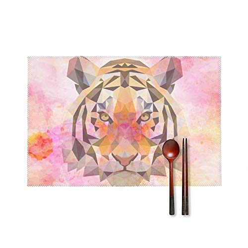 Fashion Place Mats Set of 4 Watercolor Paint Design Tiger Rectangle Non-Slip Insulation Table Desk Protector Mats Easy Wipe Clean Placemats for Home Kitchen Round Dining Table Mats 18'X12'