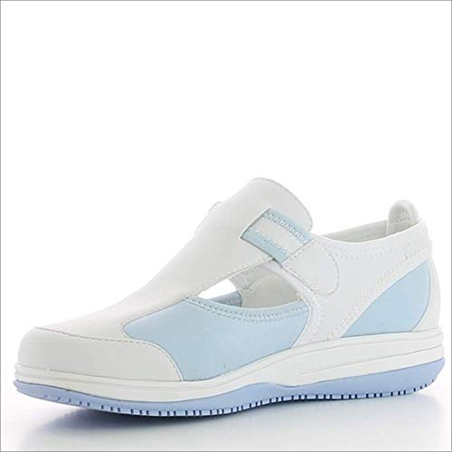 Oxypas Medilogic Candy Slip-resistant, Antistatic Nursing Shoes in White with Light Blue Size EU 39 / UK 6