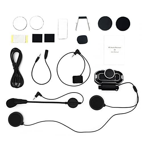 Casco de motocicleta, micrófono altavoces Bluetooth 5.0 impermeable casco radio intercomunicador para esquí, moto camping
