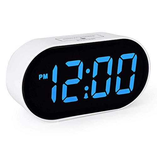 Plumeet Sveglia Elettronica, Sveglia a LED con dimmer e Funzione di Regolazione del Volume di Livello 2, Grande Orologio da Comodino con Display Digitale con Porta USB, Facile da Usare (Azzurro)