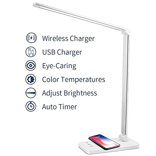 MCHATTE LED Desk Lamp with Wireless Charger, USB Charging Port, Dimmable Eye-Caring Desk Light with 5 Brightness Levels & 5 Lighting Modes, Touch Control, Auto Timer, White