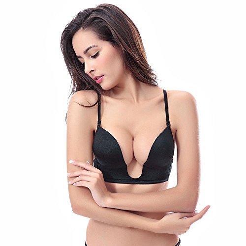 YANDW Damen Plunge Deep V BH Perfect Push-up Transparente Schultergurte Reizwäsche