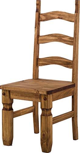 Brasilmöbel Holzstuhl Mexiko Brasil - Esszimmerstuhl Klassik Pinie Massivholz Echtholz - Variante & Farbe wählbar - Stuhl Holz Wohnzimmerstuhl Lehnenstuhl Lehne Küchenstuhl Landhaus