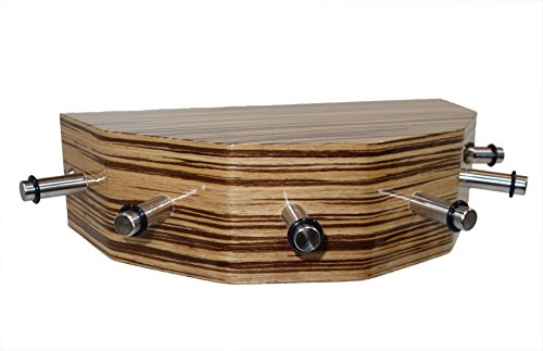 Porte-clés en bois véritable plaqué « Zebrano marron moyen »