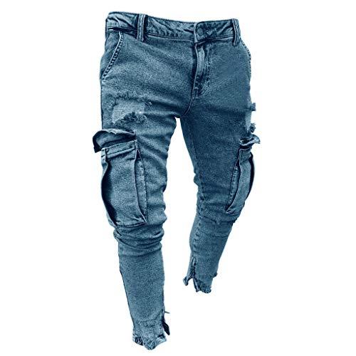 LANSKIRT_Pantalones de Deporte Hombre Multibolsillos Jeans de Mezclilla de Bolsillo con Cremallera de Moda para Hombres Pantalones de Chandal Ropa de Otoño Invierno