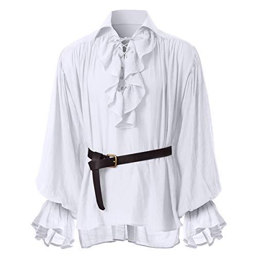 GRACEART Herren Mittelalterlich Nordisch Hemden mit Gürtel, Weiß, M