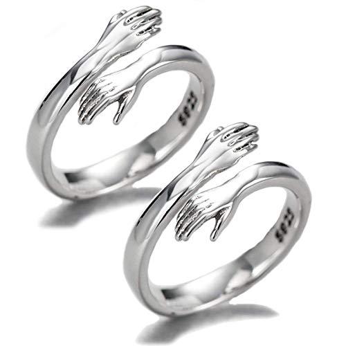Enthana 2 PCS Couple Hug Rings, Adjustable 925 Sterling Silver Hugging...