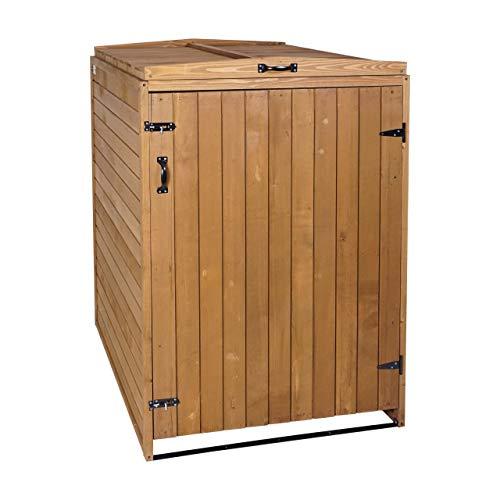 Mendler XL 1er-/2er-Mülltonnenverkleidung HWC-H74, Mülltonnenbox, erweiterbar 120x75x96 Massiv-Holz - braun