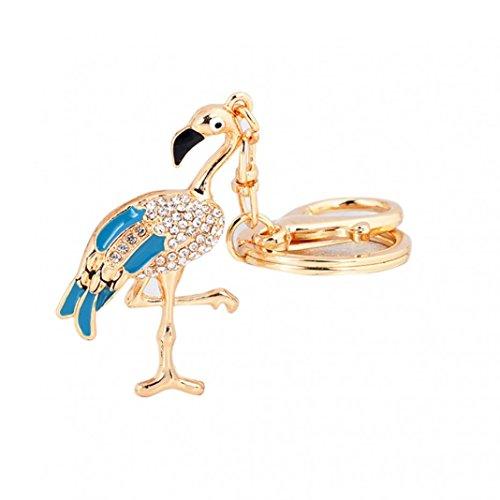 Bangle009 modischer Flamingo-Schlüsselanhänger mit Strasssteinen blau
