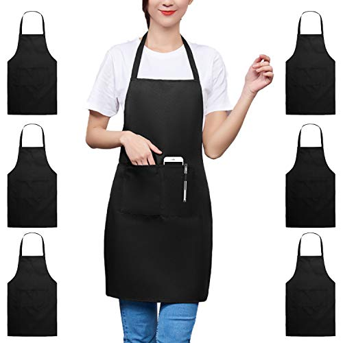 TRENDBOX 6 Pack Aprons for Women Men (Full Adult Size) Black Kitchen Aprons with 2 Pockets Durable Personalized Apron for BBQ Kitchen Cooking Baking Crafting Restaurant