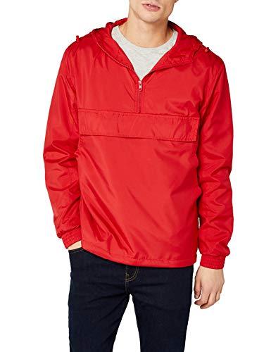 Urban Classics Herren Windbreaker Basic Pull-Over Jacket, leichte Streetwear Schlupfjacke, Überziehjacke für Frühjahr und Herbst - Farbe fire red , Größe M