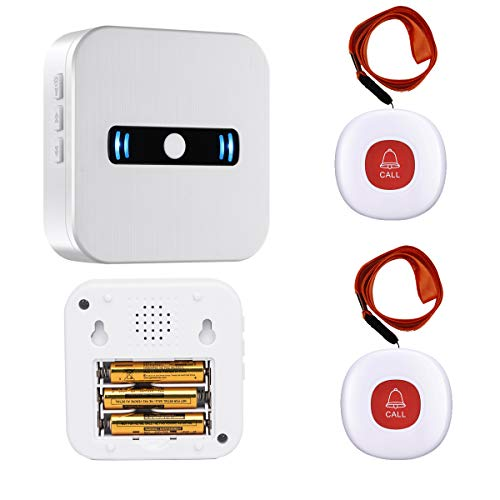 Caregiver Pagers Wireless Call Button System for Elderly Patient Personal Wireless Intercom System for Home Alert System 1 Receiver+2 Panic Button (Battery Included)