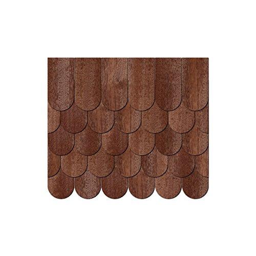 Echtholz Furnier dunkle Schindeln - halbrund - Biberschwanz/Rundschnitt - Größen- und Mengenauswahl, Schindelgröße:25mm x 12.5mm, Pack mit:250 Stück