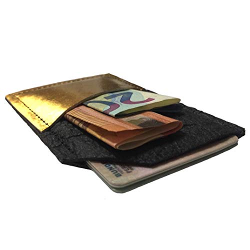 WALLET Ananasleder VEGAN & NACHHALTIG aus PINATEX, Portemonnaie, Kartenhalter - schwarz gold