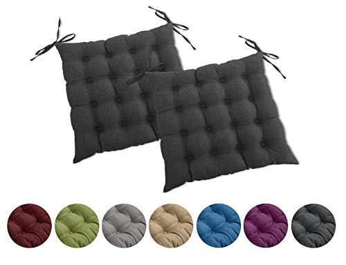 wometo 2er Set Sitzkissen Stuhl OekoTex 40x40 cm - dunkelgrau Sitzauflage Auflage Polster Stuhlkissen Sitzpolster mit Bändern
