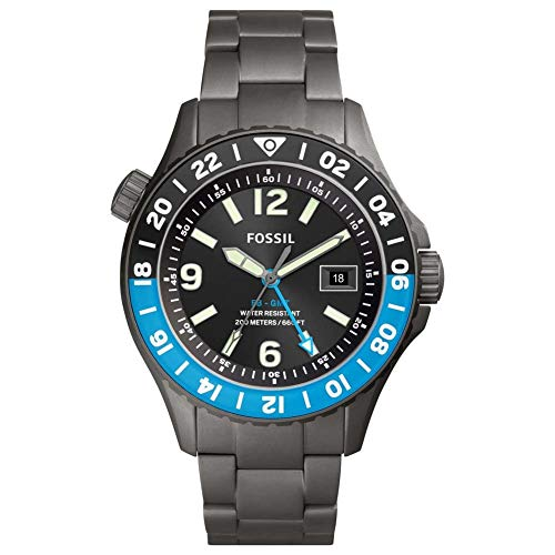 Fossil Limited Edition FB-GMT Dual Time Uhr mit rauchigem Titanarmband für Herren LE1100