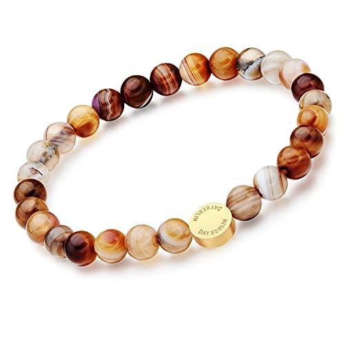 Pulsera de perlas de piedra natural Day.berlin para mujer con piedras preciosas auténticas de 7 mm, 18 cm de largo con cordón elástico + 8 mm de acero inoxidable chapado en oro de 18 quilates, Piedra,