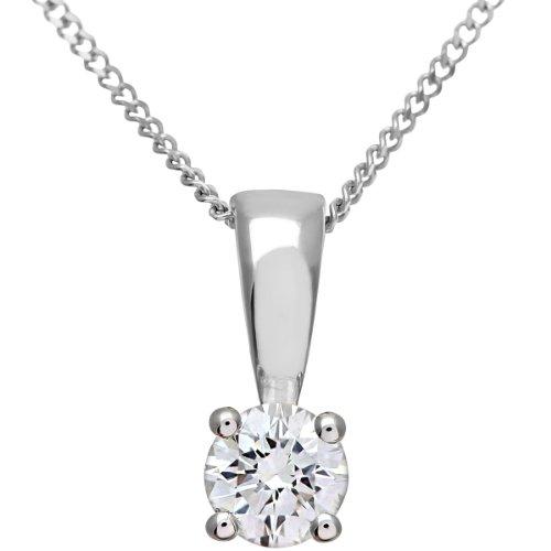 Naava Collana con Pendente da Donna, in Oro Bianco 18K, con Diamante, Taglio Brillante Rotondo
