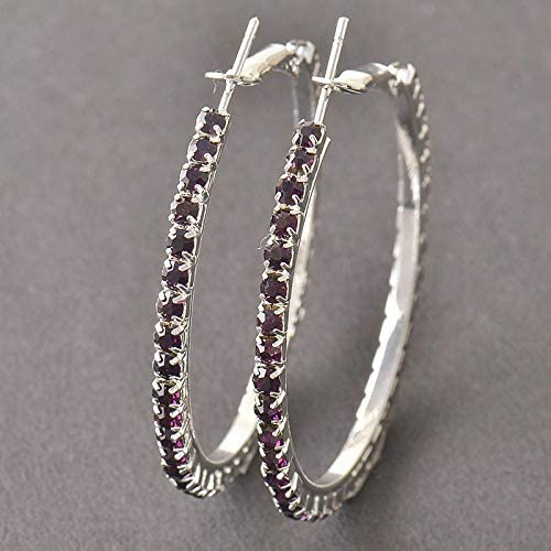 Pretty New 9k White Gold Filled Purple Crystal CZ Large Round Hoop Earrings