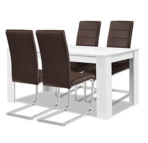 agionda ® Esstisch Stuhlset : 1 x Esstisch Toledo Weiss 140 x 90 4 Freischwinger braun