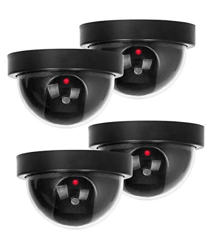 Dummy Security Camera, BNT Fake Security Camera with One Flashing Red LED Light, for Home and Businesses Indoor Outdoor (Black, 4 Pack)