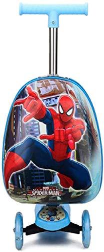 Kid's Bagage Scooter, Animal-patroon Cute Riding Cartoon Koffer Opvouwbare Scooter for Outdoor Travel, School, Kinderen cadeaus, Balloon varken Leuk speelgoed voor kinderen. (Color : Spiderman)