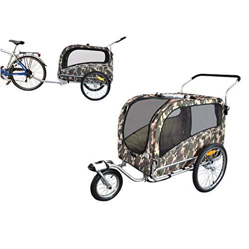 Fahrradanhänger Polironeshop Argo, Anhänger und Wagen für den Transport von Hunden, Camo, Large