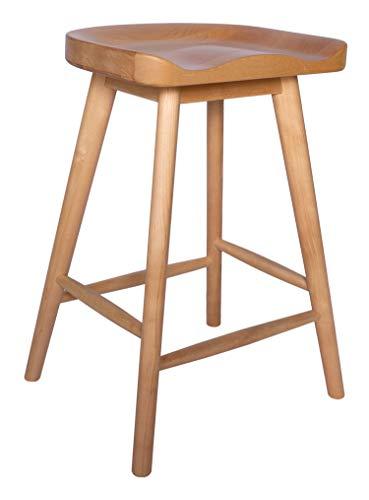 "Amazon Brand - Rivet Counter-Height Kitchen Bar Stool, 24"" H, Birch Wood, Natural Finish"