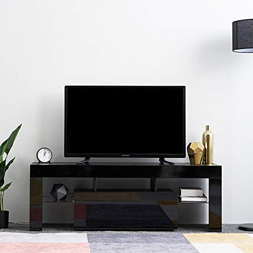 Led TV Cabinets, PALDIN TV Entertainment Unit 130cm Media Television Stand Modern High Gloss TV Cabinet With Large Media Storage Drawer For Living Room (Black without LED)