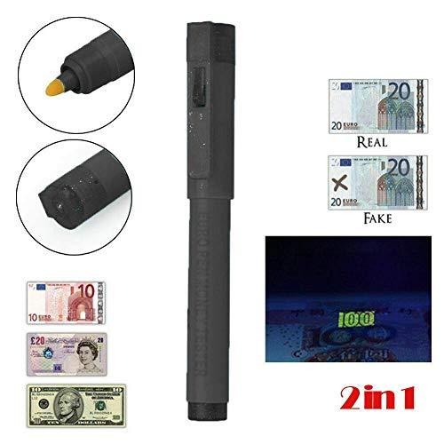 Comprobador de dinero Comprobador Bolígrafo Detector de billetes falsos falsificados falsificados Antorcha UV 2 en 1 para papel polimérico Notas Detección falsa Seguridad