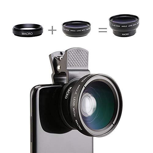 EDCRFV Handy-Objektiv-Kit, Handy-Kontaktlinsen 0,45-Fach Weitwinkelobjektiv 15-Fach Makro-Objektivkamera 2-In-1-Kits Für iPhone-Smartphones