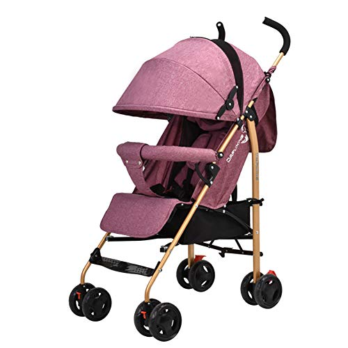 JCOCO Baby Trolley peut s'asseoir et se coucher Ultra-léger pliable Baby Buggy Portable Mini poussette simple + manchon en caoutchouc + housse de pluie (Couleur : Linen red)