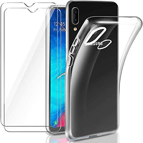 Leathlux Hülle Kompatibel mit Galaxy A20e Hülle mit 2 Stück Panzerglas, Durchsichtig Case Transparent Silikon TPU Schutzhülle Premium 9H Gehärtetes Glas für Galaxy A20e 5,8 Zoll