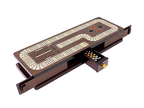 House of Cribbage - Continuous Cribbage Board / Box Inlaid in Wenge Wood / Maple : 4 Track - Cards & Pegs Storage Drawer with Score Marking Fields for Skunks, Corners and Won Games