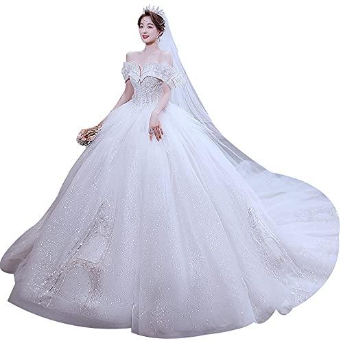 bdb Vestido de novia de un hombro con lentejuelas, diseño sin espalda, ajuste de correa para mujer, vestido de novia para fiesta de novia, bola de otoño (color: blanco, tamaño: grande)