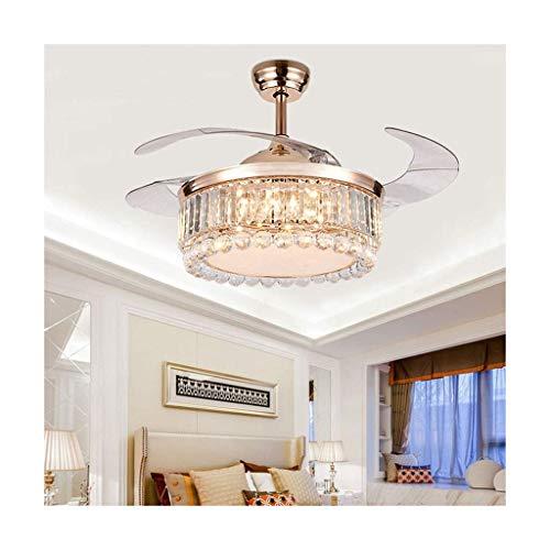 WEM Candelabros novedosos, candelabro de cristal, candelabro con ventilador invisible, moderno y sencillo, adecuado para sala de estar, dormitorio, ventilador, candelabro, iluminación, luz colgante,C