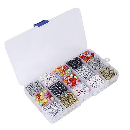 QH-shop Kette Basteln DIY Buchstaben Perlen 15 Fächer Acryl Alphabet Buchstaben Perlen für Schmuck Machen Armbänder Halsketten Schlüsselanhänger und Kinder Schmuck 1100 Pieces
