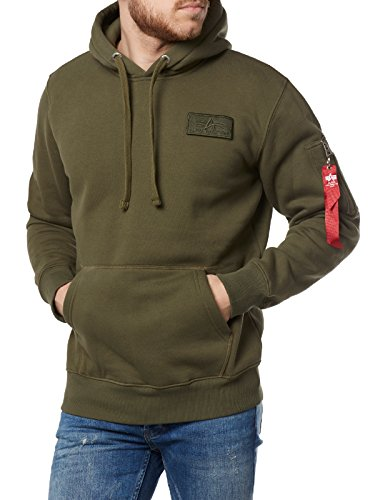Alpha Industries Red Stripe Hoodie Oliv L